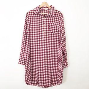 easel Red Gingham Shirt Dress Checkered Medium